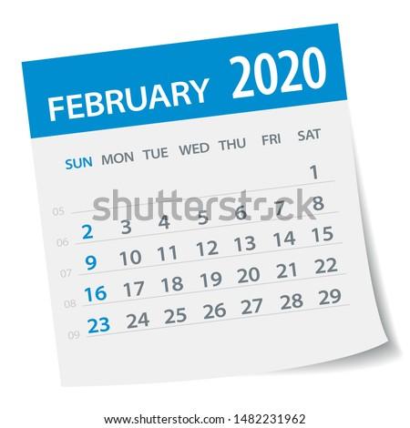 February 2020 Calendar Leaf - Illustration. Vector graphic page
