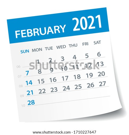 February 2021 Calendar Leaf - Illustration. Vector graphic page Stock photo ©