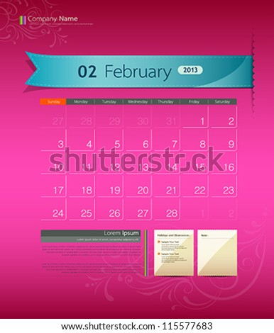 February 2013 calendar ribbon design vector illustration