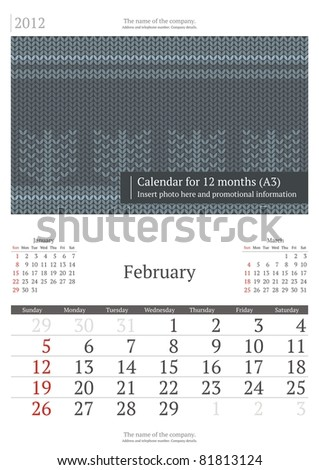February. 2012 Calendar. Serif font. A3 - stock vector
