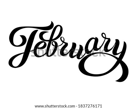February - cute handwritten modern black outline name of month of the year in english isolated on a white background. Cute12 months lettering for graphic design, calendar template, education, mockup. Stock photo ©