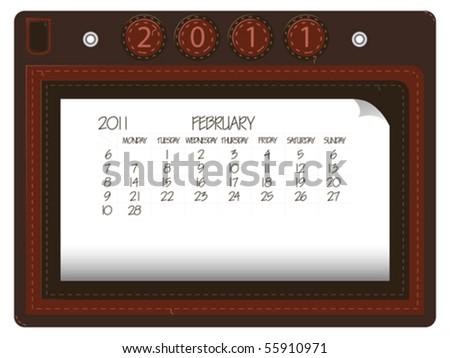 stock vector : february 2011 leather calendar against white background,