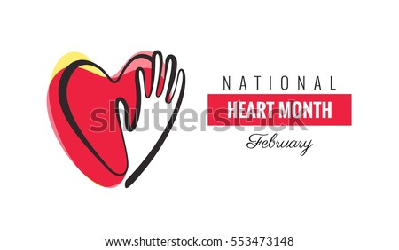 February National Heart Month Poster. Hands and hearts design. Vector illustration