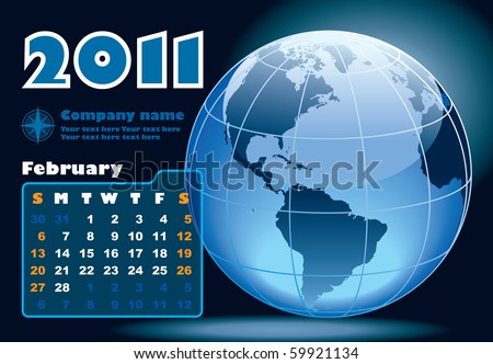 February - the Earth blue calendar for 2011, weeks starts on Sunday