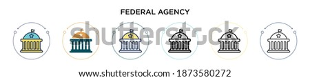 Federal agency icon in filled, thin line, outline and stroke style. Vector illustration of two colored and black federal agency vector icons designs can be used for mobile, ui, web Photo stock ©