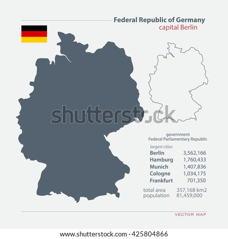 Federal Republic of Germany isolated maps and official flag icon. vector German political map icons with general information. European State geographic banner template. Deutschland