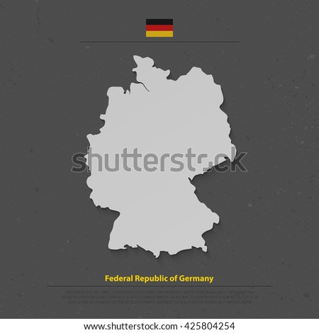 Federal Republic of Germany map and official flag icon over dark background. vector German political map 3d illustration. European State geographic banner template. Deutschland