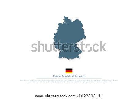 Federal Republic of Germany map and official flag icon. vector German political map logo. European State geographic banner template. Deutschland