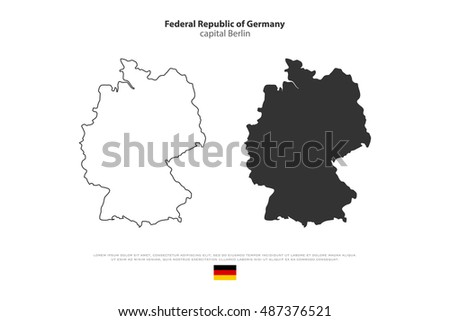 Federal Republic of Germany map outline and official flag icon isolated on white background. vector German political maps illustration. European State geographic banner template. Deutschland