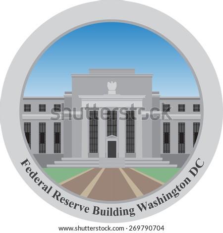 Federal Reserve building, Washington DC, USA.Vector illustration.