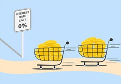 Federal reserve, FED, cut interest rate to zero percent in United States of America, US, concept. Dollar gold coins in shopping cart or trolley are moving fast on road with limit sign.