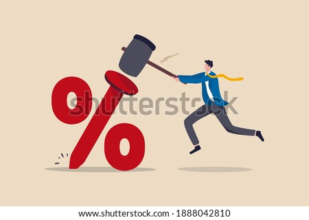 Federal Reserve low interest rate or central bank with long time zero percent interest rate until economic recover concept, businessman FED leader using hammer to nailed percentage sign to the floor. Сток-фото ©