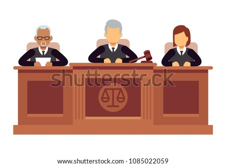 Federal supreme court with judges. Jurisprudence and law vector concept. Illustration of legal court, judge and justice