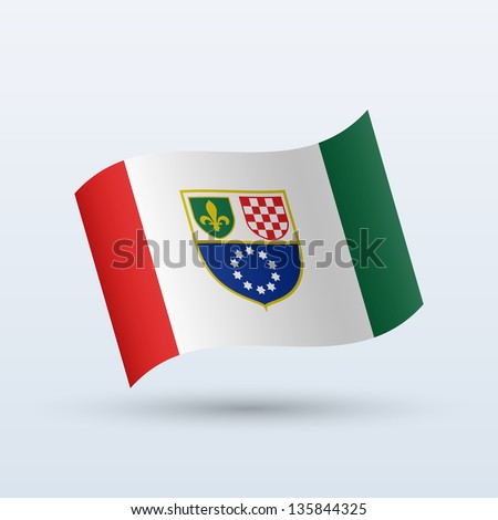 Federation of Bosnia and Herzegovina flag waving form on gray background. Vector illustration.