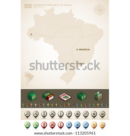 Federative Republic of Brazil and North America Maps, plus extra set of isometric icons & cartography symbols set