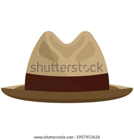 Fedora hat flat vector. Snap brim or borsalino cap isolated on white background. Gentleman chapeau illustration. Elegant head accessory with ribbon Stock photo ©