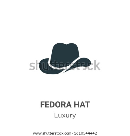 Fedora hat glyph icon vector on white background. Flat vector fedora hat icon symbol sign from modern luxury collection for mobile concept and web apps design. Stock photo ©