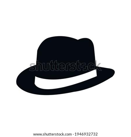 Fedora Hat icon, gentleman's hat isolated on white. Vector illustration Stock photo ©