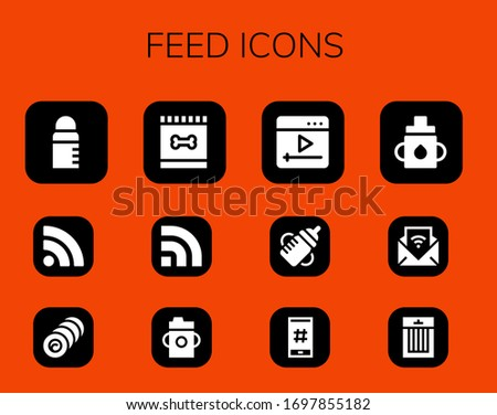 feed icon set. 12 filled feed icons.  Simple modern icons such as: Feeder, Rss, Bale, Feed, Feeding bottle, Youtube, Hashtag, Treats