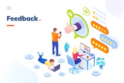 Feedback and customer survey, review and opinion, vector isometric concept. Customer feedback review online service, client thumb up satisfaction and business evaluation rating stars, customer support