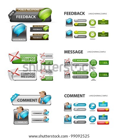feedback, and message icons / collection of vector icons and buttons