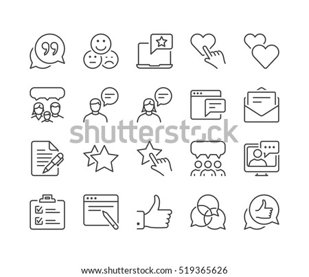 feedback and testimonials thin line icon set, black color, isolated