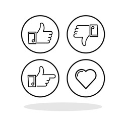 Feedback buttons set icon in flat style. Social media feedback symbols for your web site design, logo, app, UI Vector EPS 10.