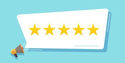 Feedback concept vector, review rating stars in bubble, customer testimony experience flat cartoon illustration, reputation idea