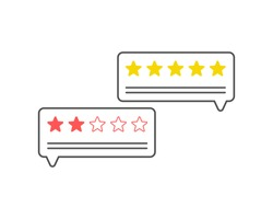 Feedback. Customer review communication symbol, concept of feedback, testimonials, online survey, rating stars, positive and negative comments, chat bubble speeches. Vector illustration