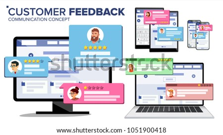 Feedback Customer Review Page On Computer Monitor, Laptop, Tablet, Mobile Phone Vector. Client Testimonials. Website Rating Feedback And Review Concept. Isolated Flat Illustration