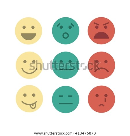feedback emoji concept icon set abstract design image flat illustration