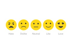 Feedback emoticon icon set. Smiley feedback. User experience rate with smileys. Level of customer satisfaction. Feedback in form of emotions. Vector flat icons