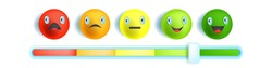 Feedback emotion bar slider, customer satisfaction level scale, multicolored round vector face, icon. Service evaluation, horizontal review meter, rating concept isolated on white. Feedback bar design