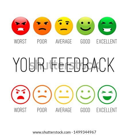 Feedback emotion icons. Colour emotions signs, cartoon emotional faces for communication and support satisfaction concepts, client happiness survey vector icon set