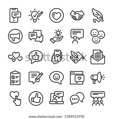 Feedback icons set. Comments and evaluation symbols. Line style #1284923590