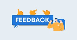Feedback illustration. Opinions and reviews of users social networks communication and information marketing with assessment of consumer services reaction to provided content and vector services.