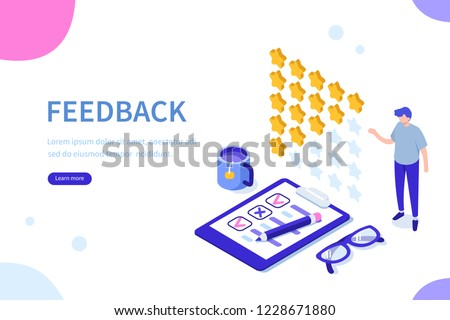 Feedback or rating concept banner. Can use for web banner, infographics, hero images. Flat isometric vector illustration isolated on white background.