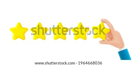 Feedback or rating concept banner. Cartoon hand holds yellow star. Vector 3d illustration. Sign of feedback or rating. Good review, supporting client service successful.