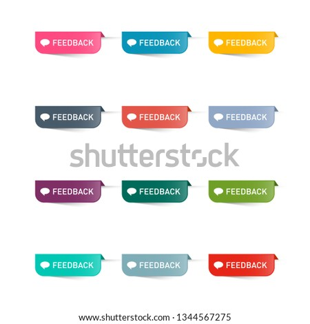 Feedback Paper Icons Set. Colorful Vector Web Labels Collection. #1344567275
