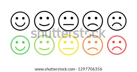 Feedback vector concept. Rank, level of satisfaction rating. Excellent, good, normal, bad awful. Feedback in form of emotions, emoji. User experience Review of consumer