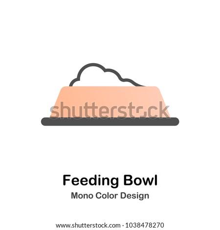 Feeding bowl with food mono color icon
