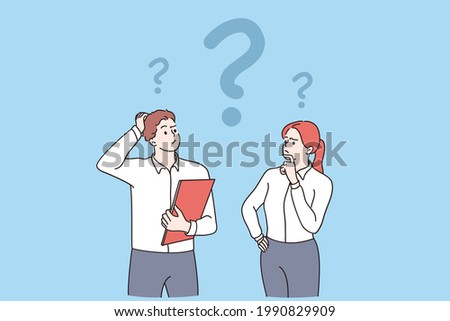 Feeling doubt, question, thinking concept. Young frustrated man and woman business partners cartoon characters standing feeling doubt with question signs above vector illustration