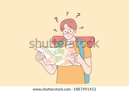 Feeling lost and frustration concept. Young caucasian man cartoon character standing with city map and feeling worried and depressed for distress, afraid and frustrated vector illustration