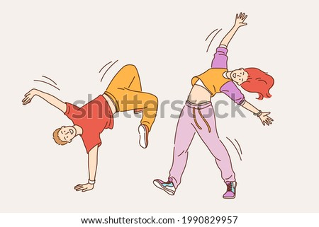 Feeling positive and dancing concept. Young smiling cheerful girl and boy in stylish bright clothes dancing modern dances feeling happy moving body vector illustration