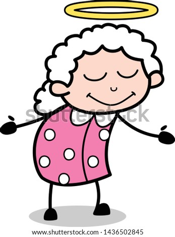 Feeling Positive - Old Woman Cartoon Granny Vector Illustration