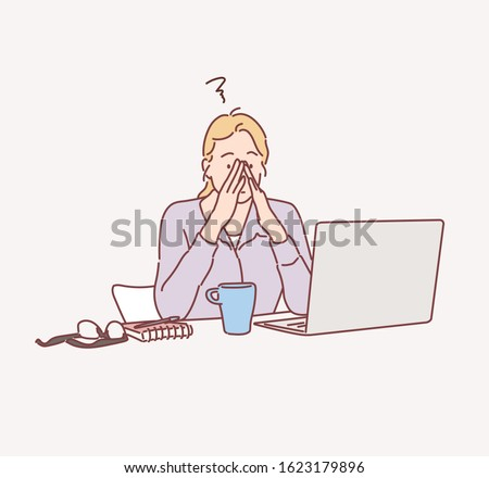 Feeling tired and stressed. Frustrated young woman keeping eyes closed and massaging nose while sitting at her working place in office. Hand drawn style vector design illustrations.