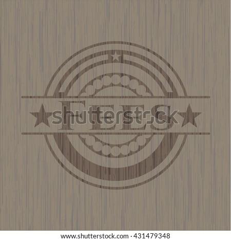 Fees realistic wooden emblem