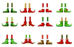 Feet and shoes of leprechaun and Christmas elf vector set. Cartoon Santa Claus, Xmas gnome, fairy and dwarf legs with red and green boots, colorful socks and striped stockings, fairy characters design