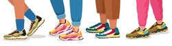 Feet in sneakers. Female and male walking legs in sport shoes with socks, pants and jeans. Trendy fashion fitness footwear vector concept. Colorful comfortable trainers on young people