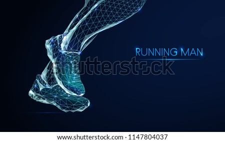 Feet of running man. Low poly style design. Abstract geometric background. Wireframe light connection structure. Low polygonal design. Modern 3d graphic concept. Isolated  vector illustration.